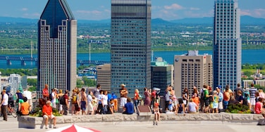 Mount Royal Park which includes central business district, skyline and a city