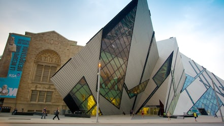 Royal Ontario Museum showing modern architecture, a city and street scenes