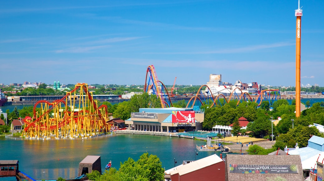 La Ronde六旗樂園 呈现出 城市 和 遊樂設施