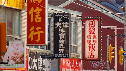 Chinatown showing signage and a city