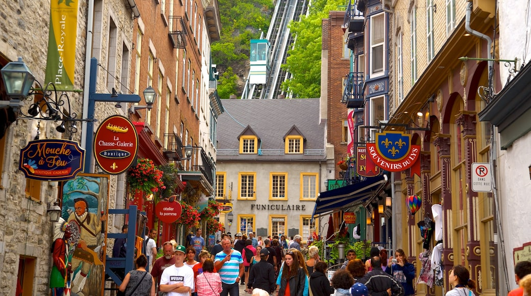 Old Quebec featuring a city, signage and street scenes