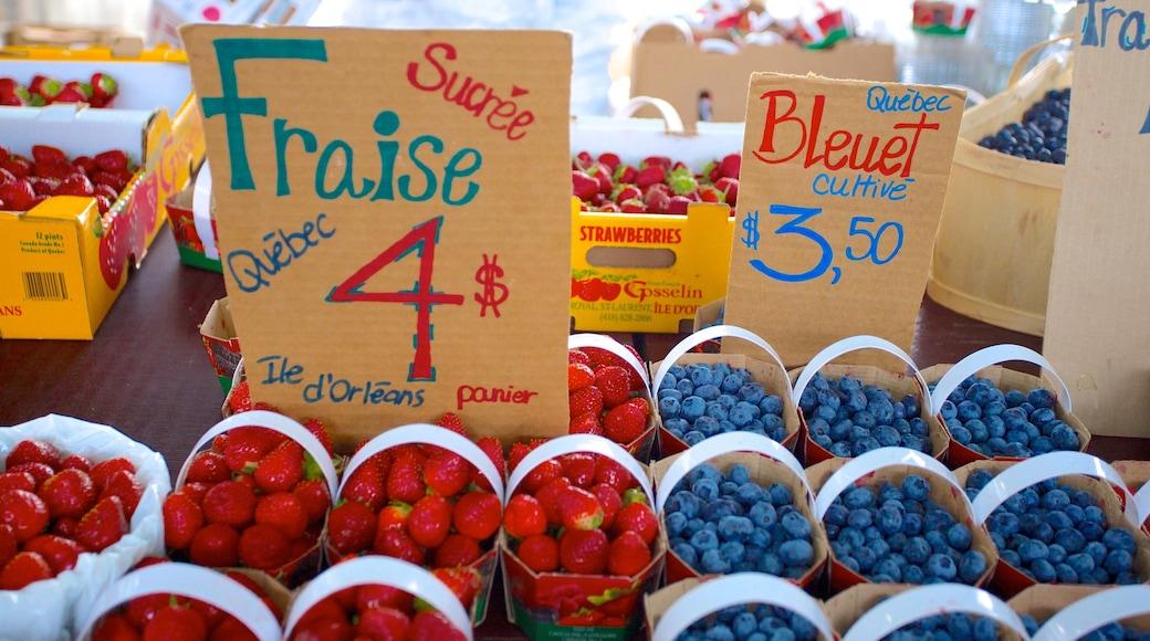 Jean-Talon Market che include mercati, cibo e segnaletica