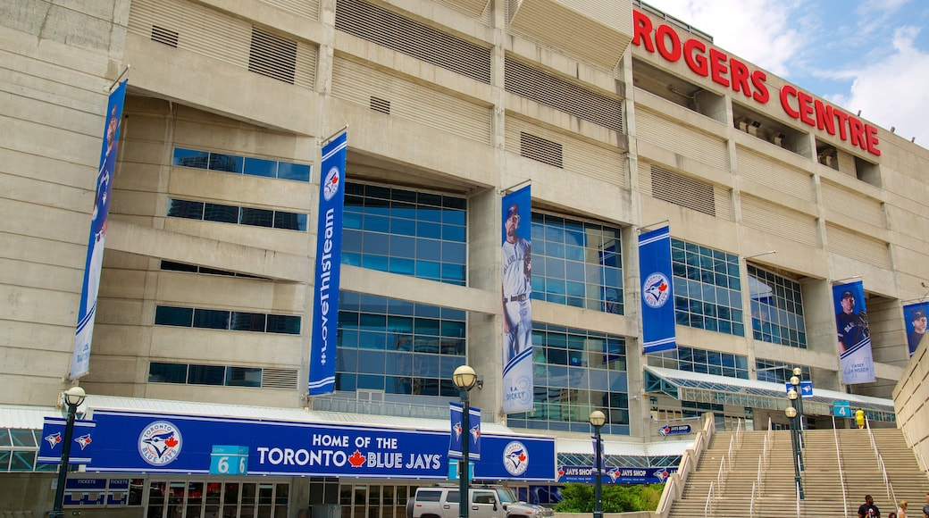 Rogers Centre featuring signage and a city