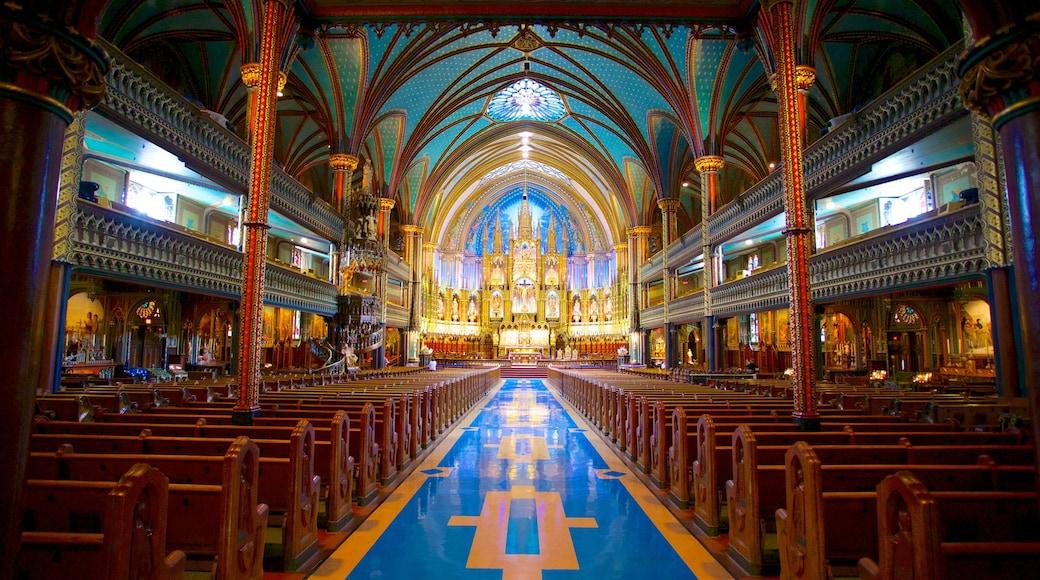 Notre Dame Basilica mostrando una iglesia o catedral, vistas interiores y elementos religiosos