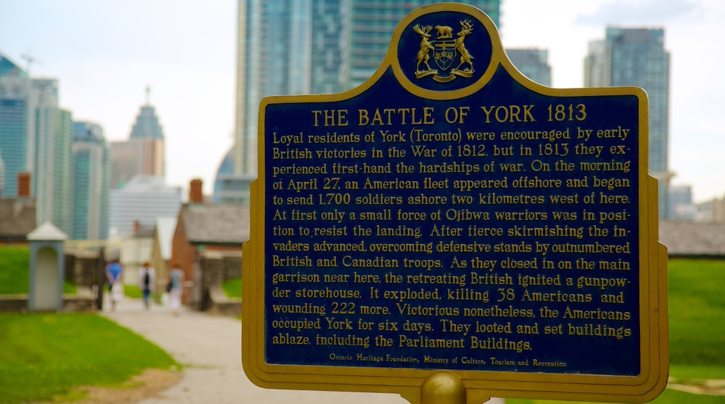 Fort York National Historic Site which includes signage and a city