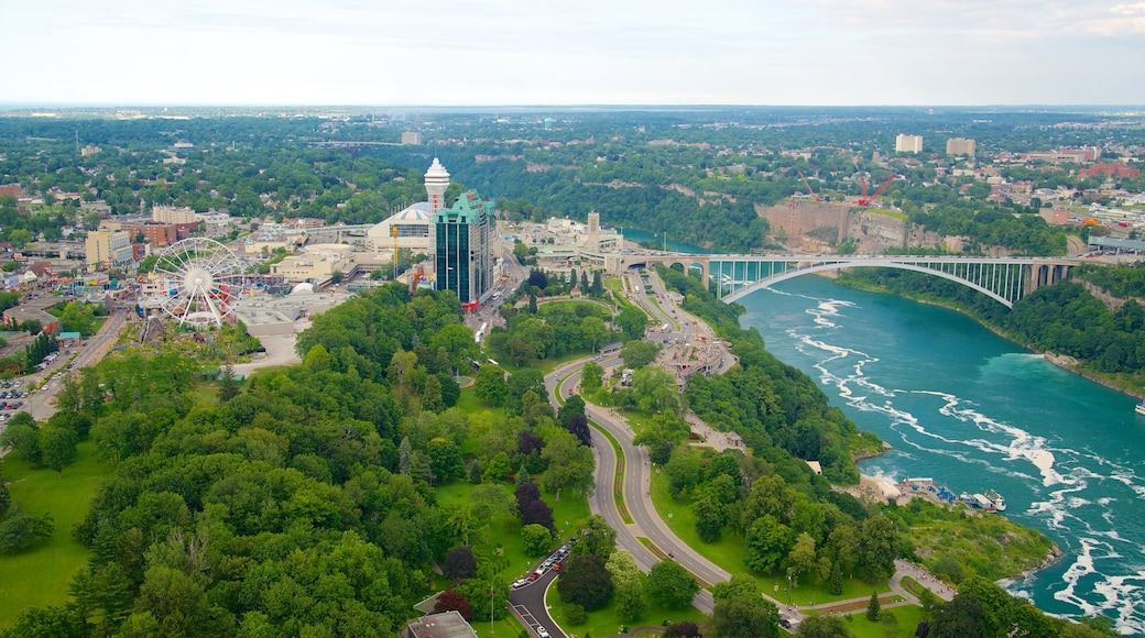 Skylon Tower showing a city, a bridge and a river or creek