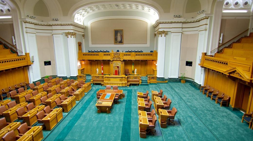 Saskatchewan Legislative Building featuring heritage architecture, interior views and an administrative building