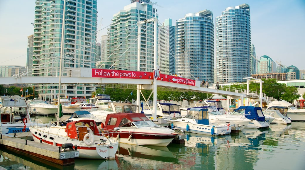 Harbourfront Centre showing a high-rise building, a bay or harbour and a city