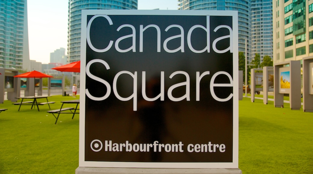 Harbourfront Centre featuring signage and a city