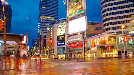 Yonge Street Shopping District featuring night scenes, signage and a city