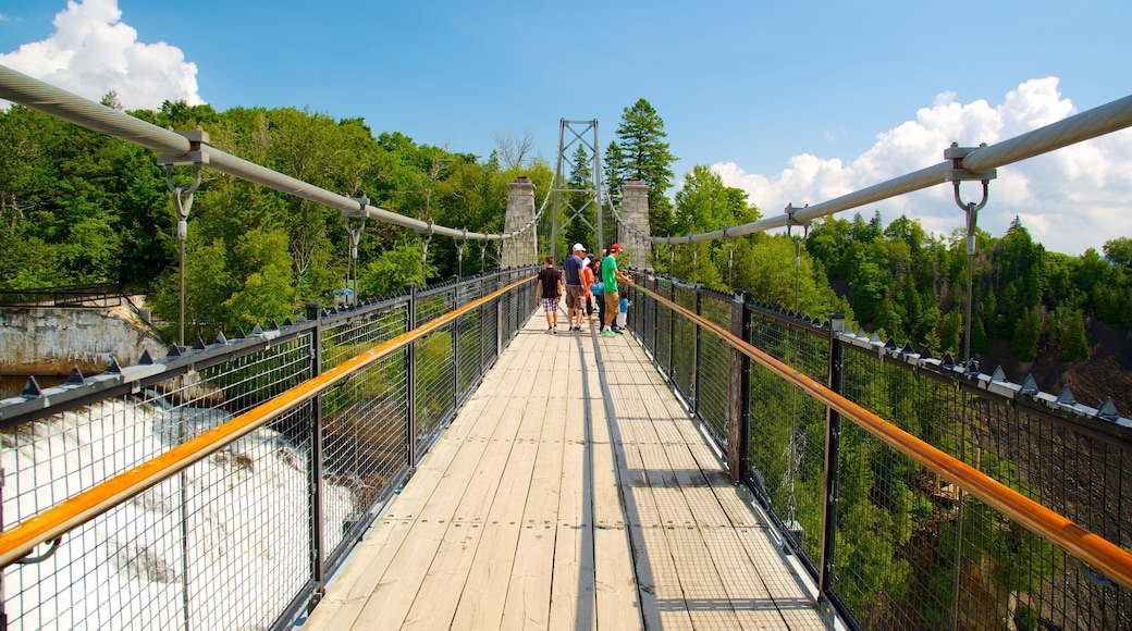 Montmorency Falls featuring a suspension bridge or treetop walkway, views and a bridge