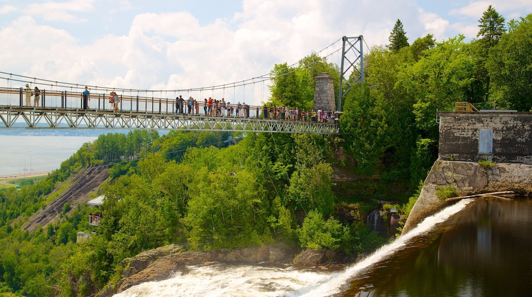 Montmorency Falls featuring a suspension bridge or treetop walkway, a bridge and hiking or walking