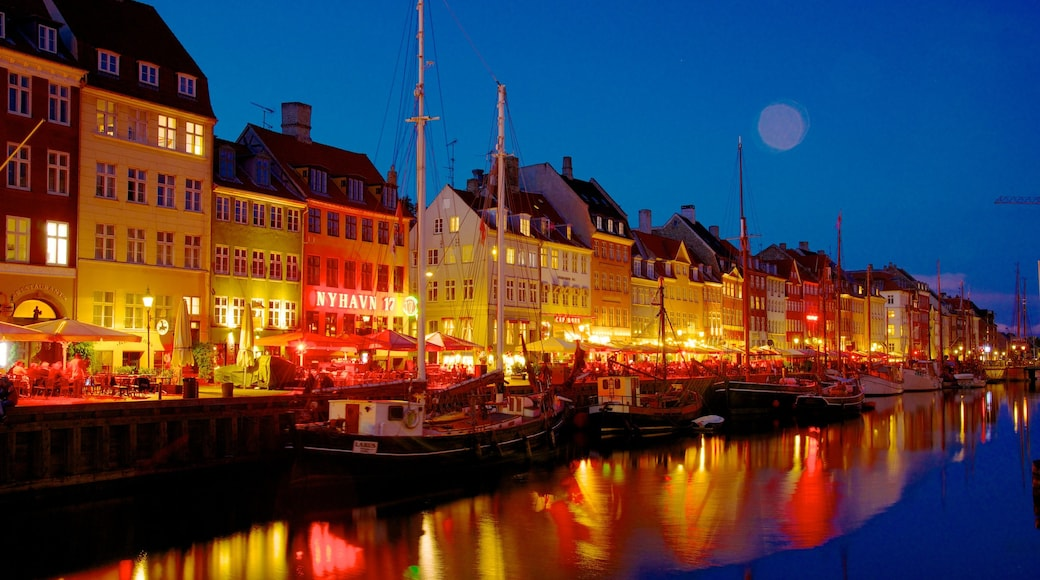 Nyhavn showing a marina, night scenes and a city