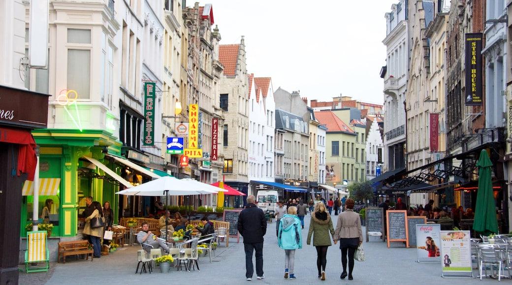 Anversa mostrando caffè, città e strade