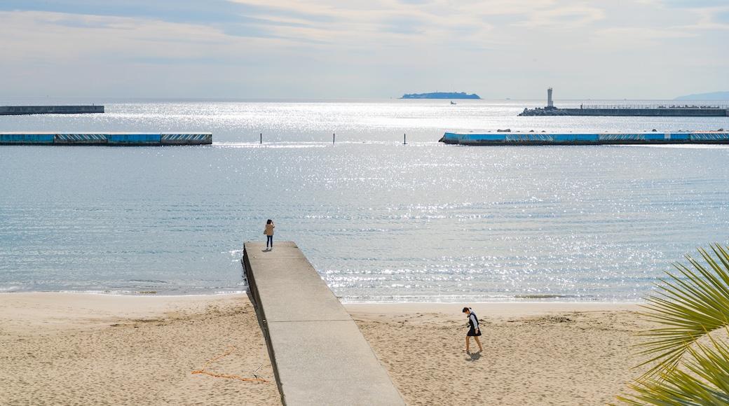 Atami Sun Beach which includes a beach and general coastal views