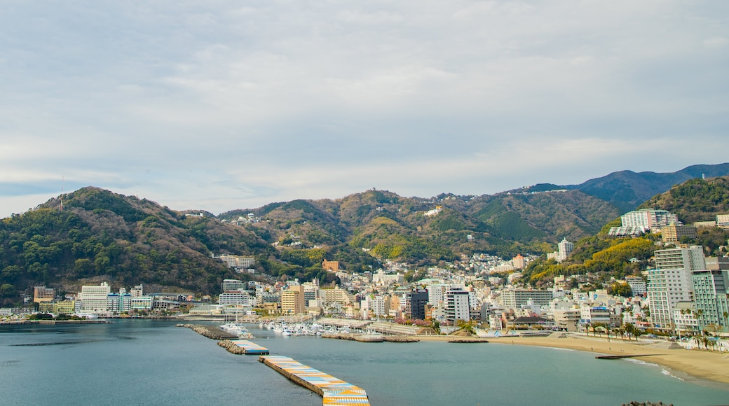 Atami which includes a bay or harbor and a coastal town