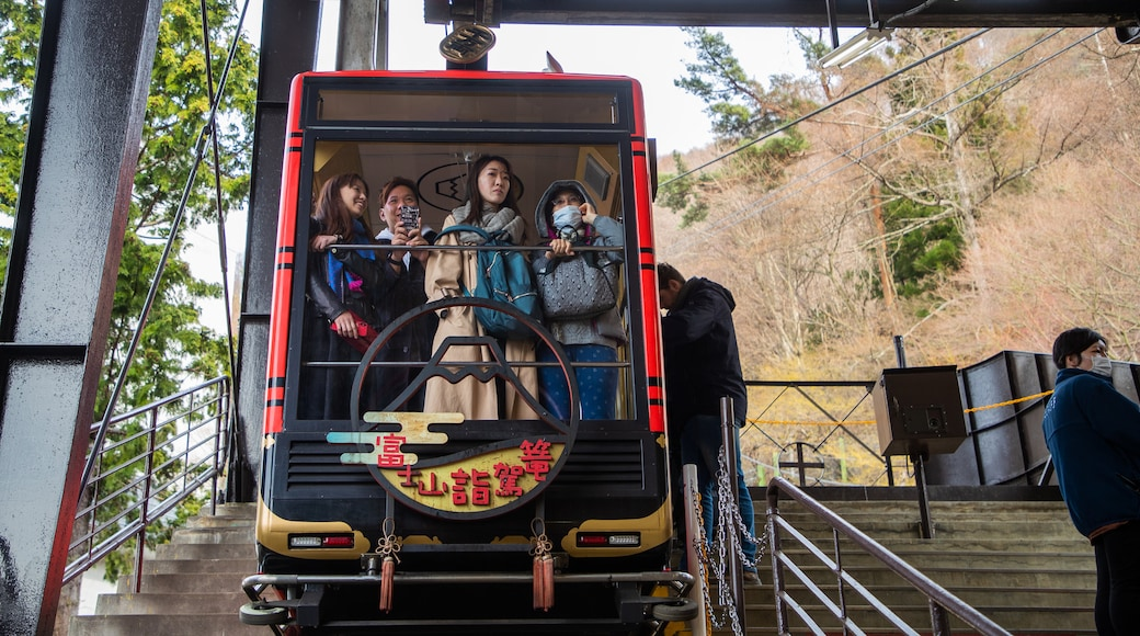 Mt. Kachi Kachi Ropeway showing a gondola as well as a small group of people