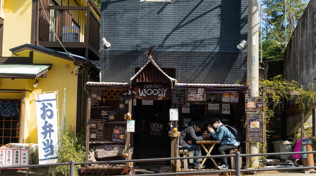 Miyanoshita showing cafe lifestyle and outdoor eating as well as a couple