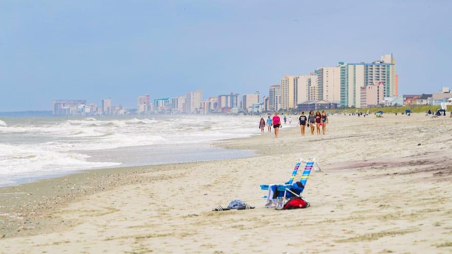 North Myrtle Beach showing a beach, a coastal town and general coastal views