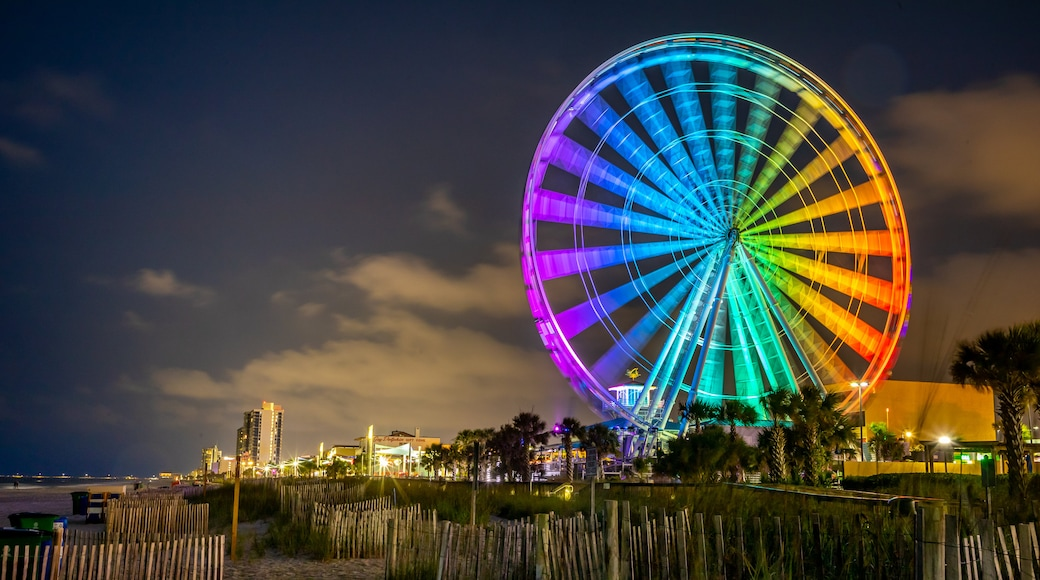 SkyWheel Myrtle Beach showing night scenes, a coastal town and rides