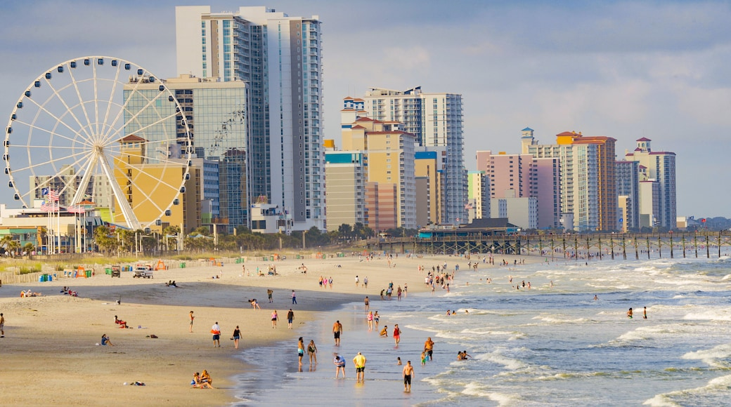 Myrtle Beach showing general coastal views, swimming and a city