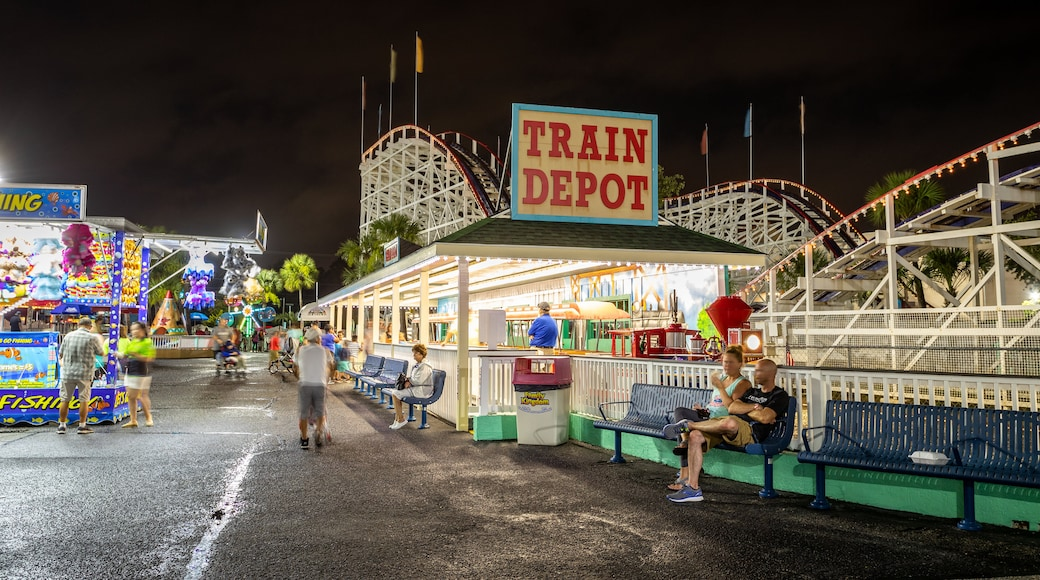 Family Kingdom Amusement Park featuring night scenes, rides and signage