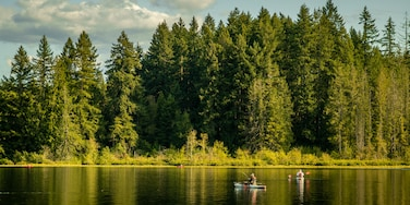 Millersylvania State Park featuring a lake or waterhole and kayaking or canoeing as well as a couple