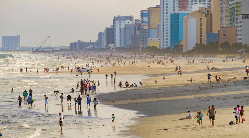 Myrtle Beach showing a sandy beach, general coastal views and a coastal town