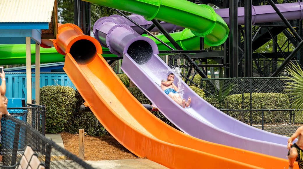 Myrtle Waves featuring a waterpark as well as an individual male