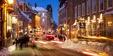 Old Quebec showing night scenes, a city and street scenes