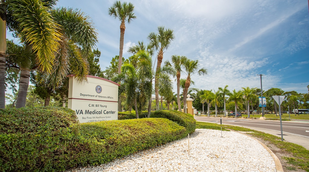 Bay Pines VA Medical Center featuring signage and a garden