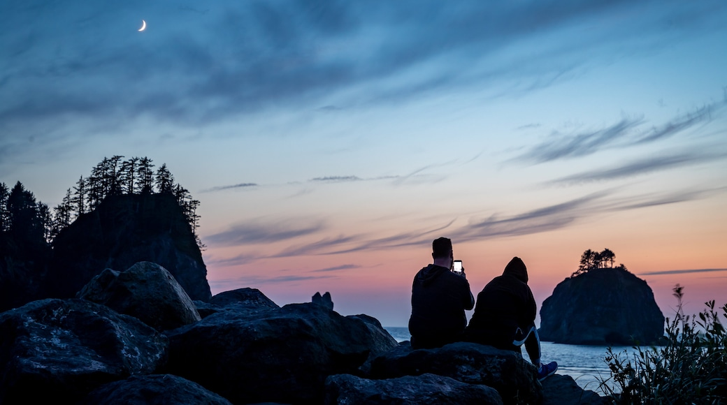 La Push which includes a sunset and general coastal views as well as a couple