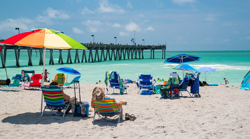 Venice Fishing Pier featuring general coastal views and a beach as well as a couple