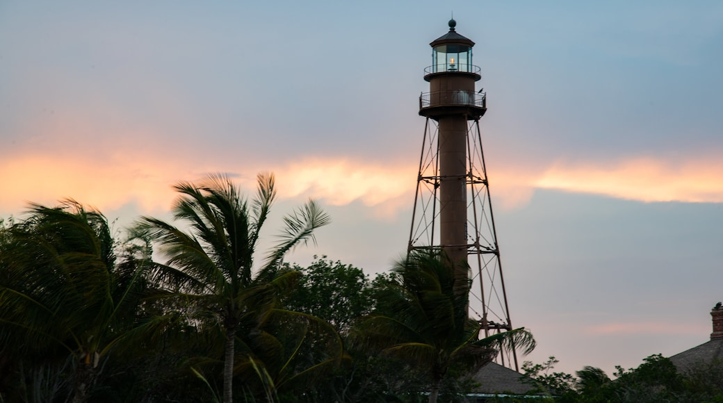 Sanibel Island Lighthouse which includes a sunset and a lighthouse