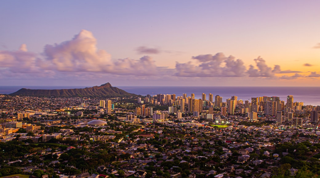 Tantalus showing landscape views, a sunset and a city