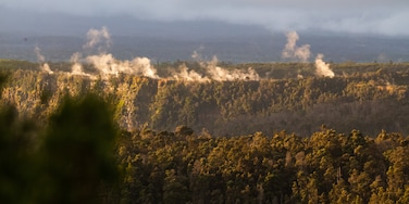 Kilauea Iki Crater which includes tranquil scenes, mist or fog and landscape views