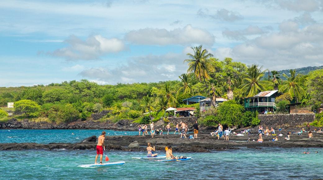 Pu\'uhonua o Honaunau National Historical Park showing kayaking or canoeing, general coastal views and tropical scenes