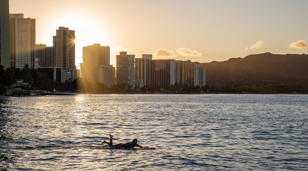 Waikiki Beach which includes surfing, a sunset and a coastal town