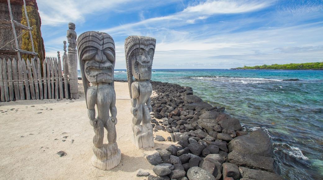 Pu\'uhonua o Honaunau National Historical Park featuring general coastal views and indigenous culture