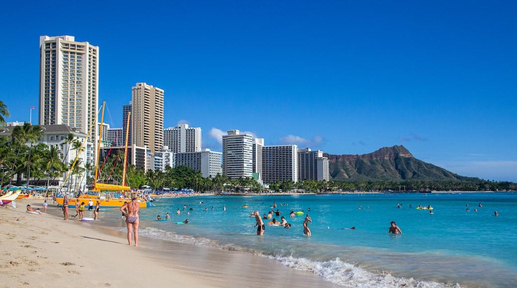 Waikiki Beach featuring general coastal views, a beach and swimming