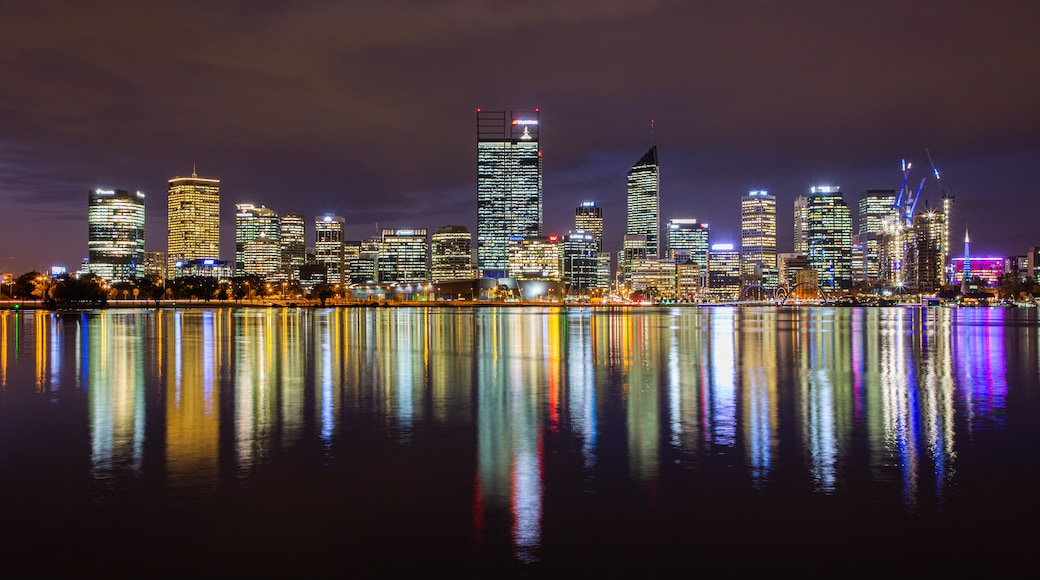 Perth Central Business District featuring a city, night scenes and a bay or harbor