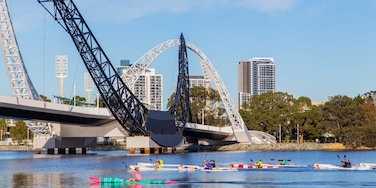 Burswood which includes a bridge, a river or creek and kayaking or canoeing