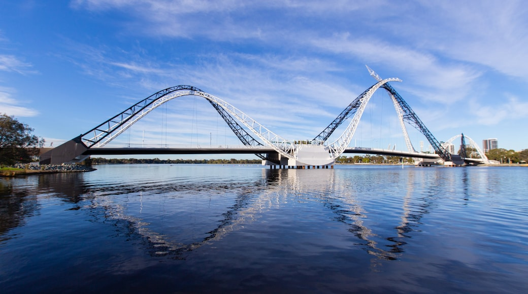 Burswood which includes a river or creek and a bridge