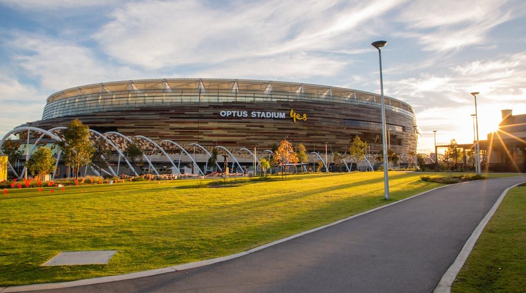 Optus Stadium featuring a garden, a sunset and signage