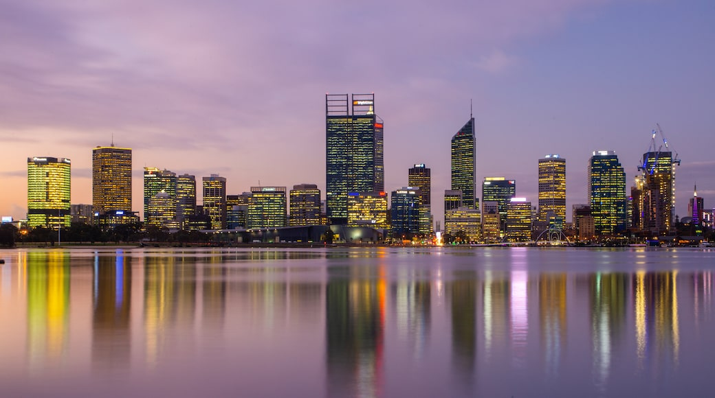 South Perth which includes a bay or harbor, a sunset and a city