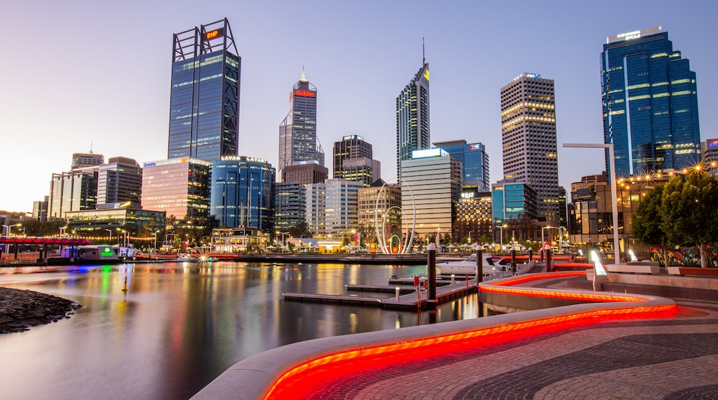 Elizabeth Quay which includes a sunset, a city and a bay or harbor