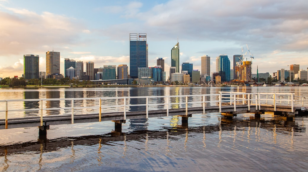 South Perth featuring a sunset, a city and a bay or harbor