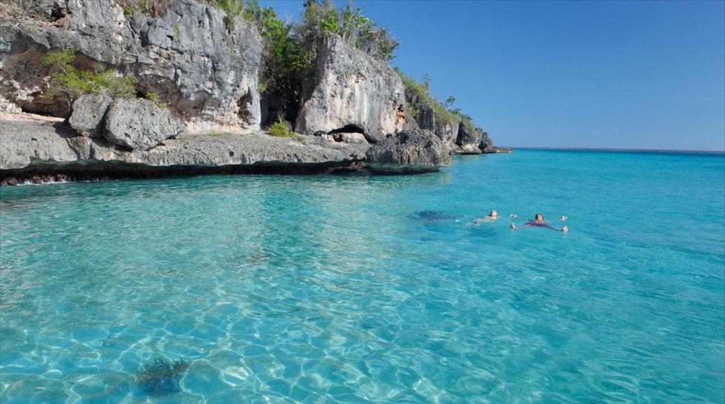 Bayahibe Beach showing tropical scenes, rugged coastline and general coastal views