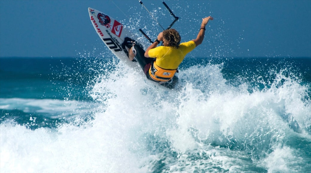 Cabarete which includes kite surfing and surf as well as an individual male