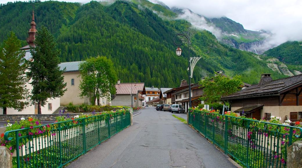 Argentière qui includes montagnes, scènes de rue et petite ville ou village